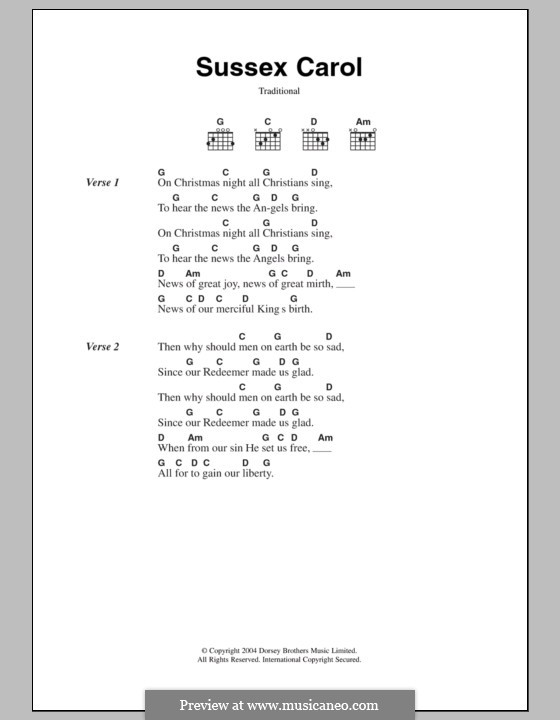 Sussex Carol: Lyrics and chords by folklore