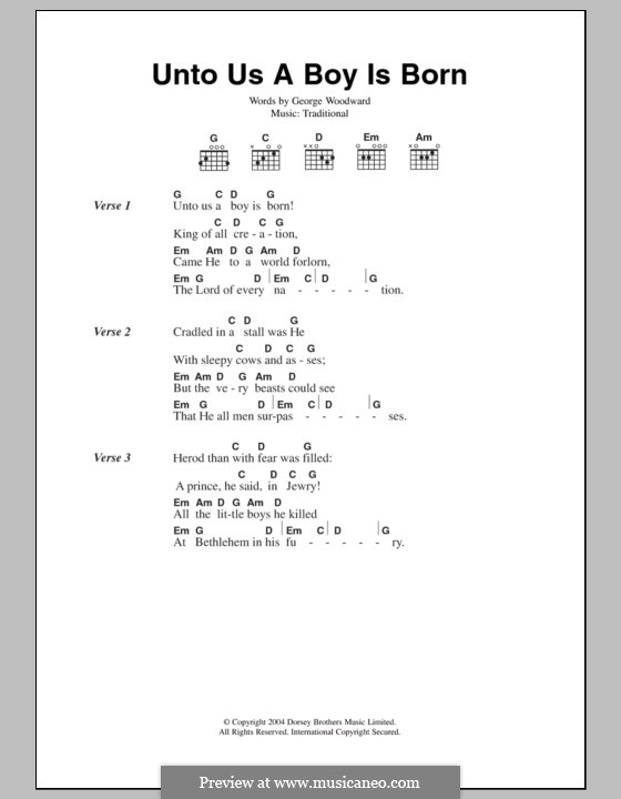 Unto Us a Boy Is Born: Lyrics and chords by folklore