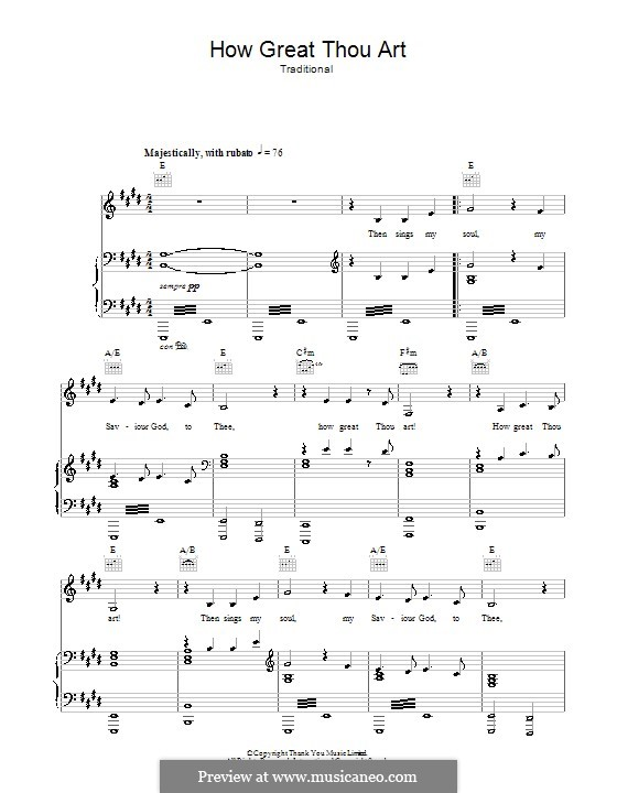 How Great Though Art: For voice and piano (or guitar) by folklore
