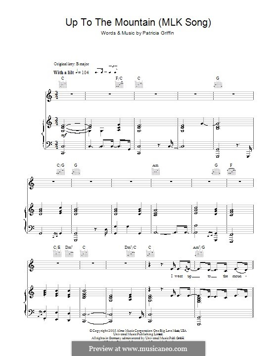 Up to the Mountain (MLK Song): For voice and piano (or guitar) by Patty Griffin