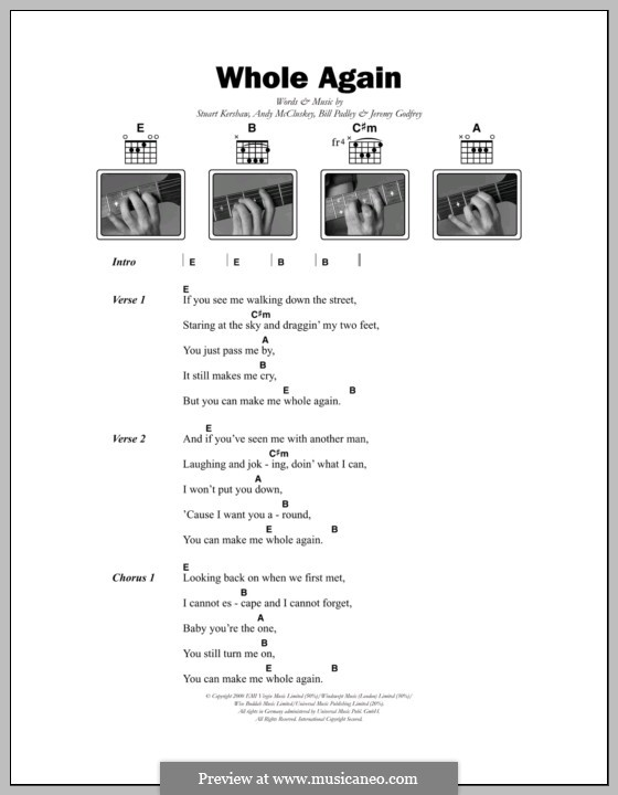 Whole Again (Atomic Kitten): Lyrics and chords by Andy McCluskey, Bill Padley, Jeremy Godfrey, Stuart Kershaw