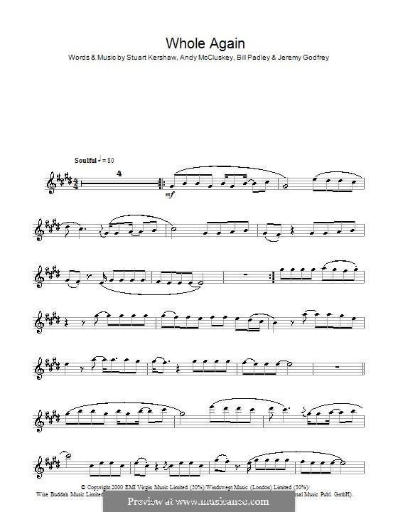 Whole Again (Atomic Kitten): For flute by Andy McCluskey, Bill Padley, Jeremy Godfrey, Stuart Kershaw
