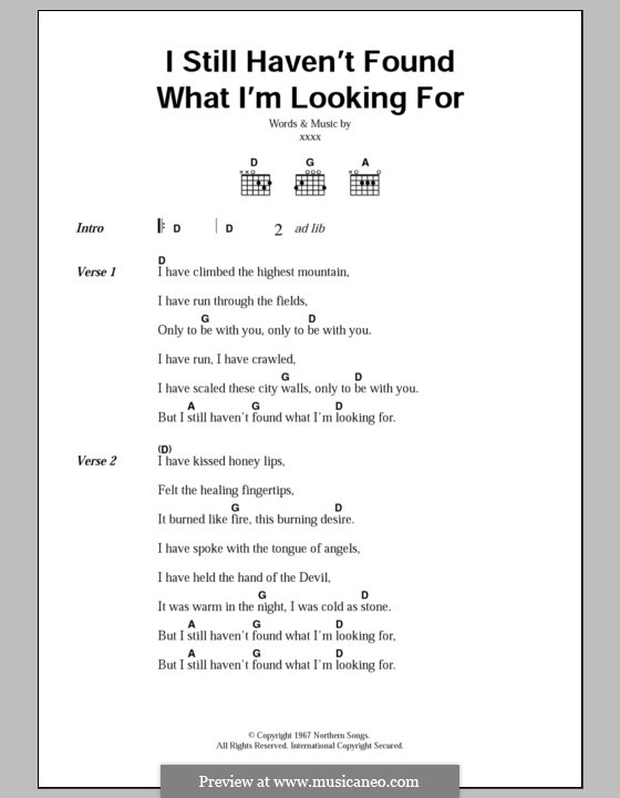 I Still Haven't Found What I'm Looking for: Lyrics and chords by U2