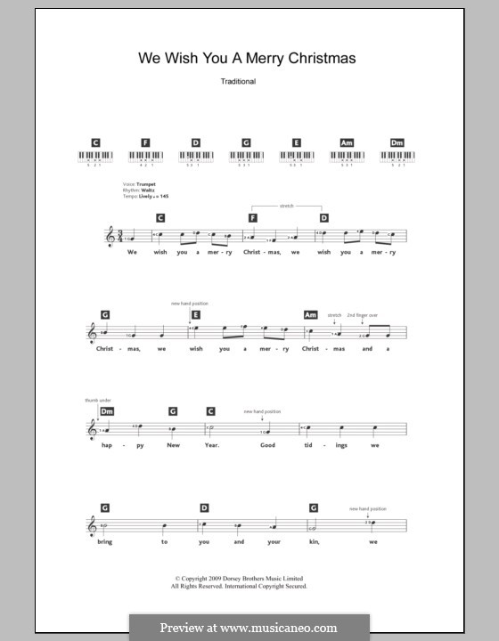 We Wish You a Merry Christmas (Printable Scores): For keyboard by folklore