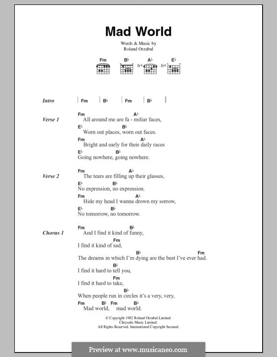 Mad World (Gary Jules & Michael Andrews): Lyrics and chords by Roland Orzabal