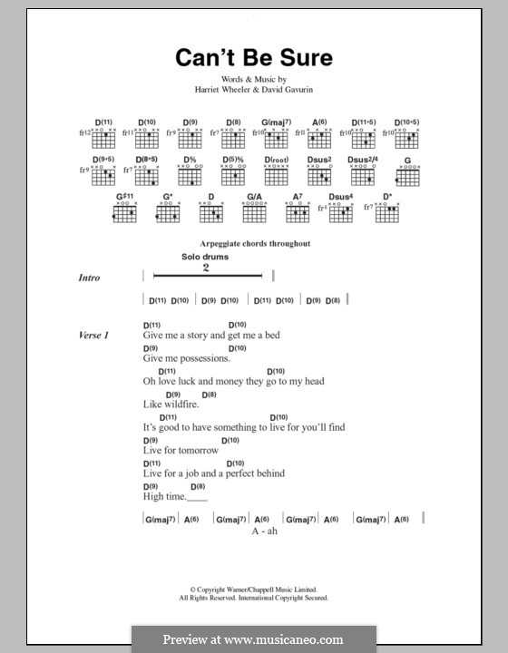 Can't Be Sure (The Sundays): Lyrics and chords by David Gavurin, Harriet Wheeler