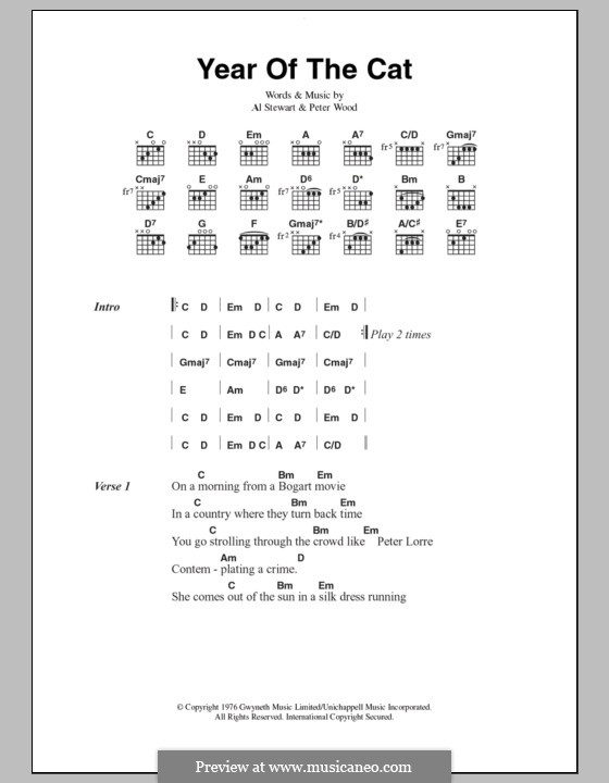 Year of the Cat: Lyrics and chords by Al Stewart, Peter Wood