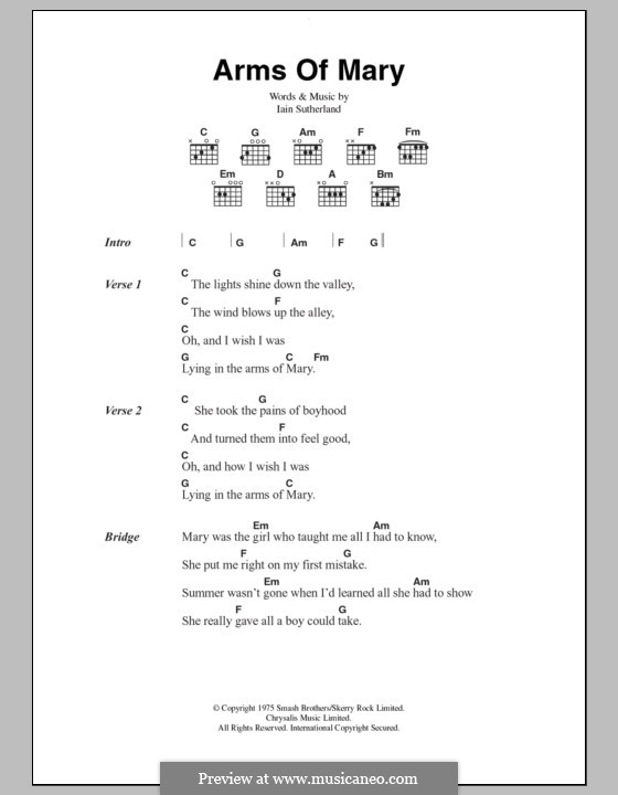 Arms of Mary (Boyzone): Lyrics and chords by Iain Sutherland