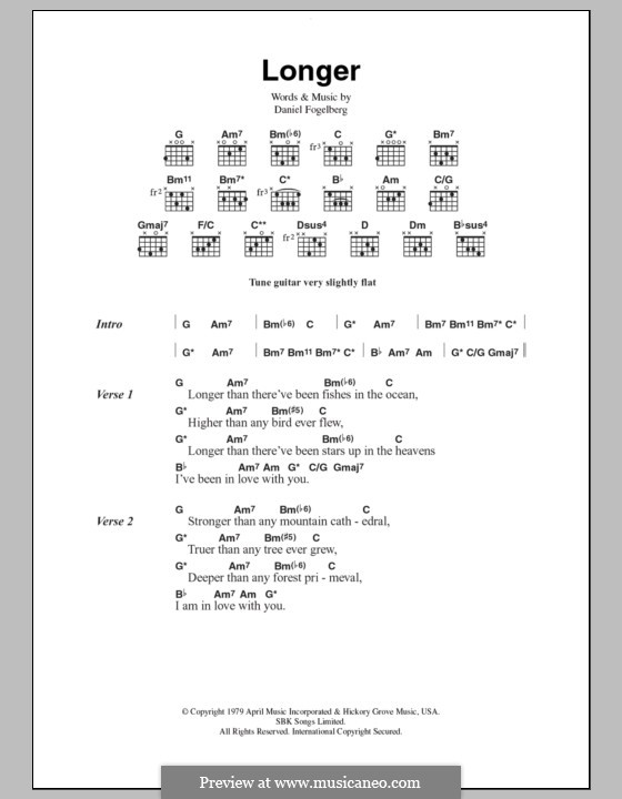 Longer: Lyrics and chords by Dan Fogelberg