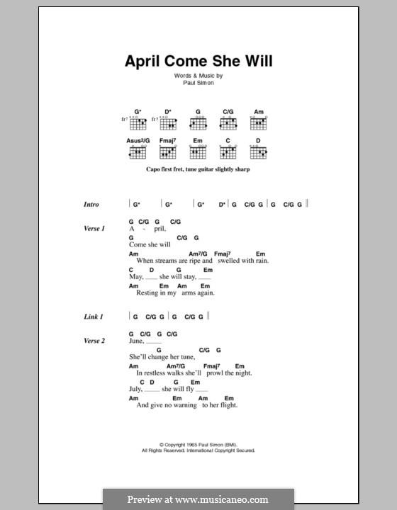 April Come She Will (Simon & Garfunkel): Lyrics and chords by Paul Simon