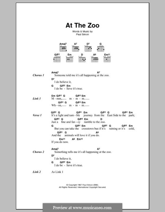 At the Zoo (Simon & Garfunkel) by P. Simon - sheet music on MusicaNeo