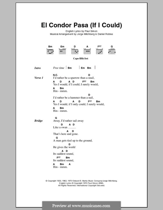 El condor pasa: Lyrics and chords by folklore