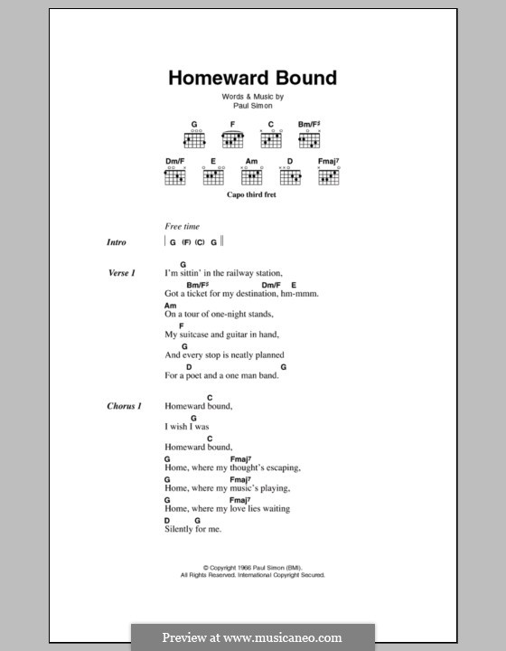 Homeward Bound (Simon & Garfunkel): Lyrics and chords by Paul Simon
