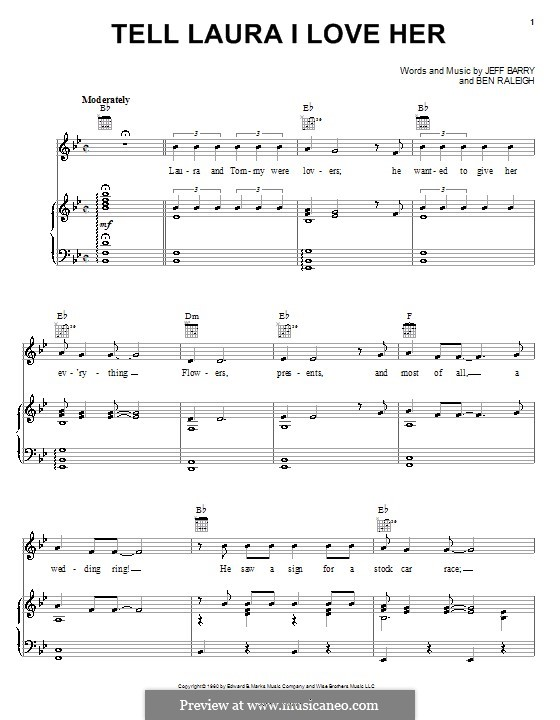 Tell Laura I Love Her (Ray Peterson): For voice and piano (or guitar) by Ben Raleigh, Jeff Barry