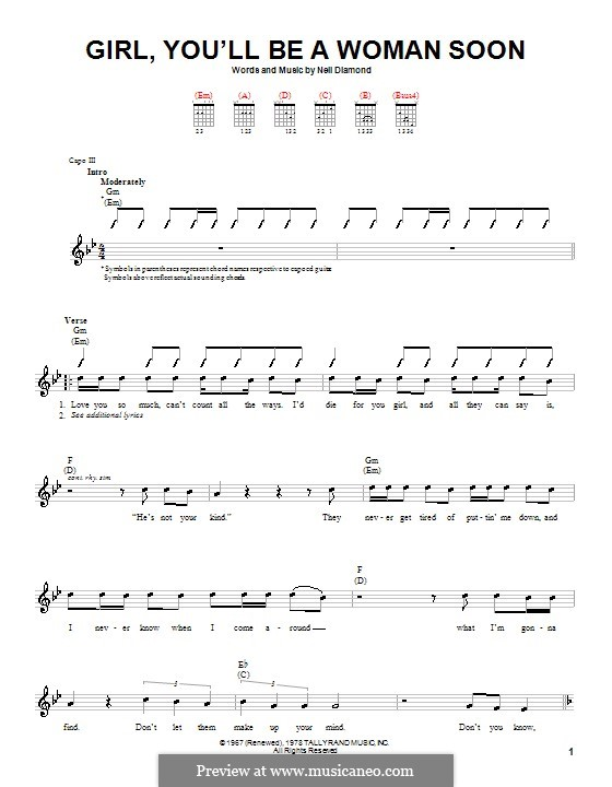 Girl, You'll Be a Woman Soon: For guitar (with strumming patterns) by Neil Diamond
