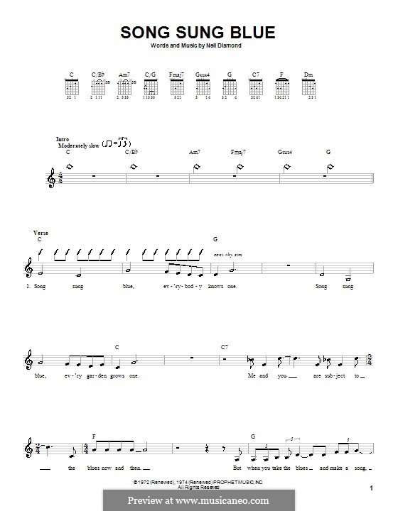 Song Sung Blue: For guitar (with strumming patterns) by Neil Diamond