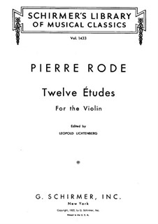 Twelve Etudes for Violin: Twelve Etudes for Violin by Pierre Rode