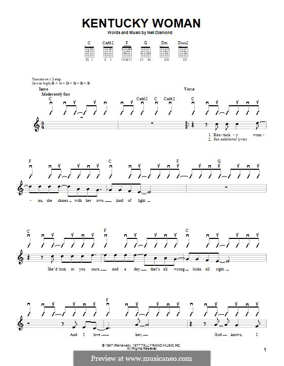 Kentucky Woman: For guitar (with strumming patterns) by Neil Diamond