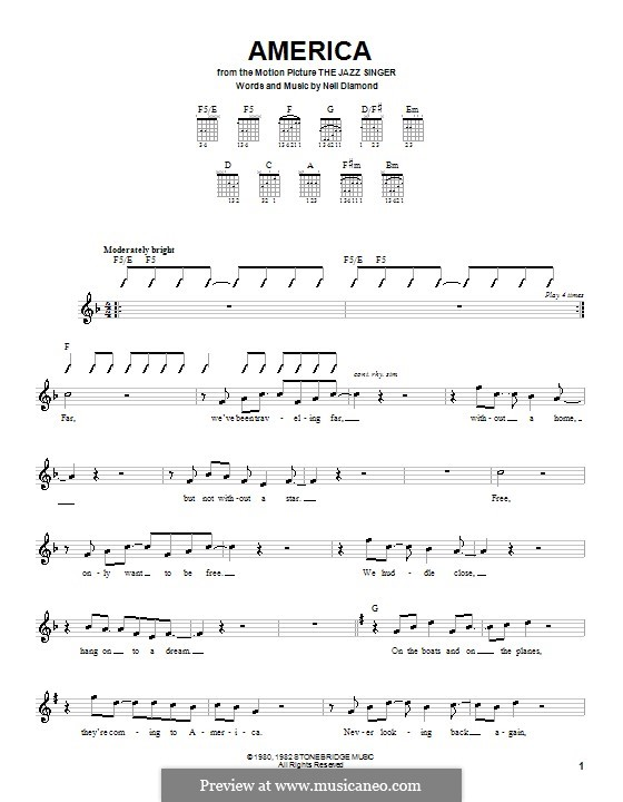 America: For guitar (with strumming patterns) by Neil Diamond