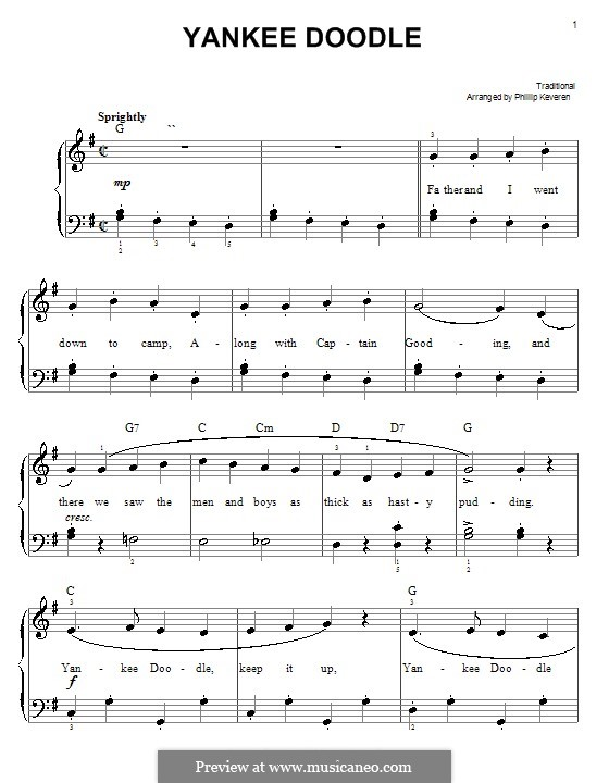 Yankee Doodle: For easy piano by folklore