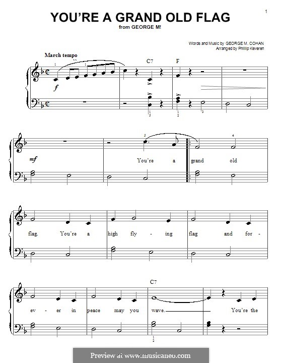 You're a Grand Old Flag: For piano by George Michael Cohan