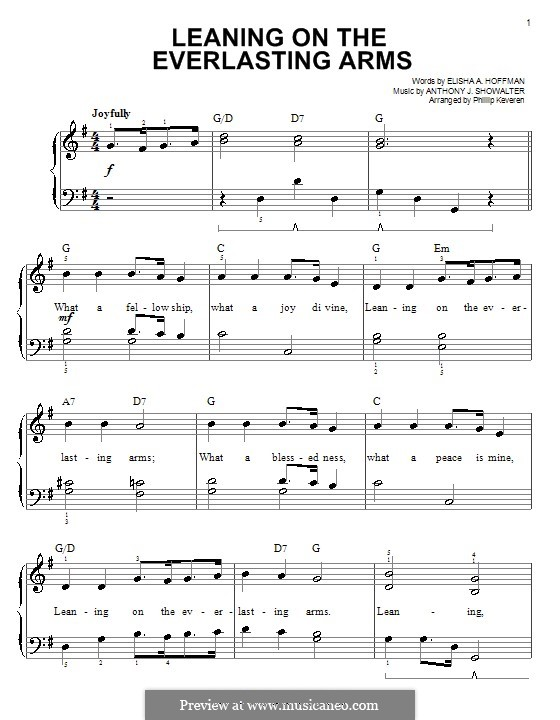 Leaning on the Everlasting Arms: For easy piano by Anthony J. Showalter
