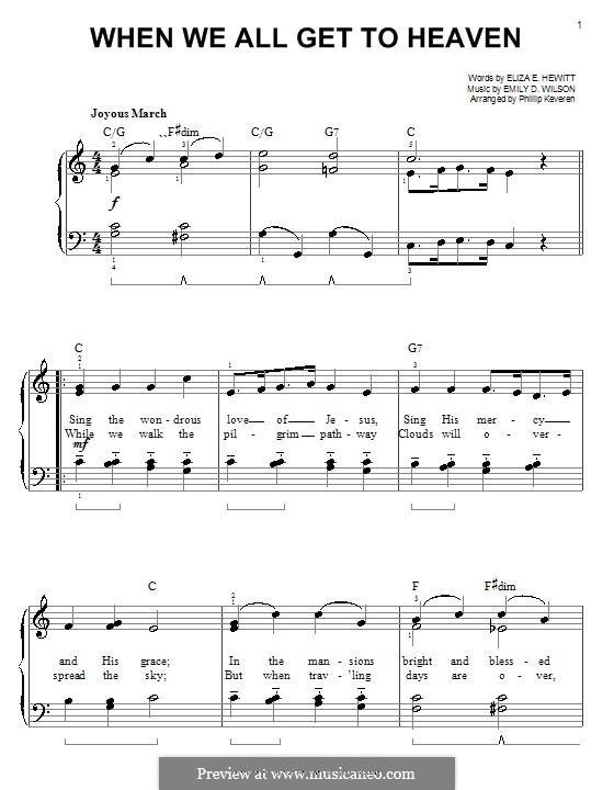 When We All Get To Heaven: For easy piano by Emily D. Wilson