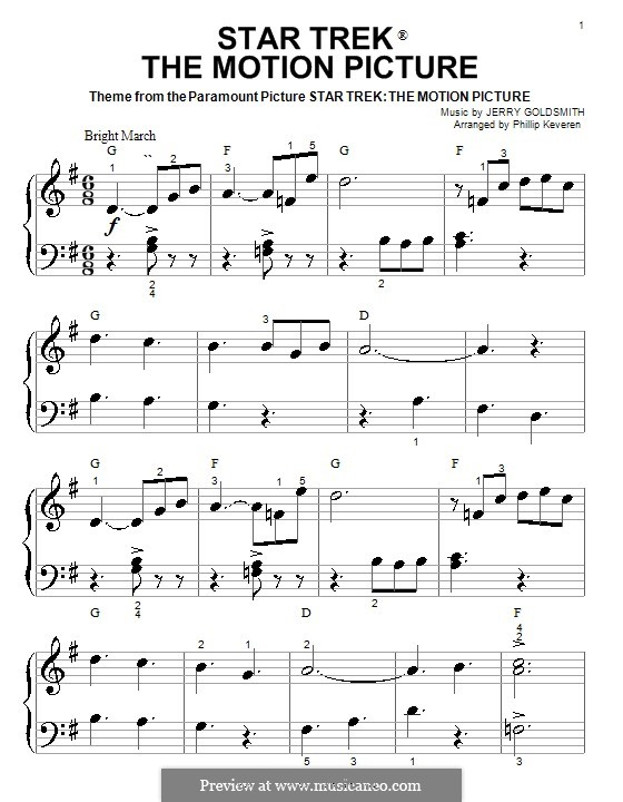 Theme from Star Trek: The Motion Picture: For piano (very easy version) by Jerry Goldsmith