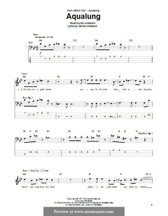 Aqualung (Jethro Tull): For bass guitar with tab by Ian Anderson, Jennie Anderson