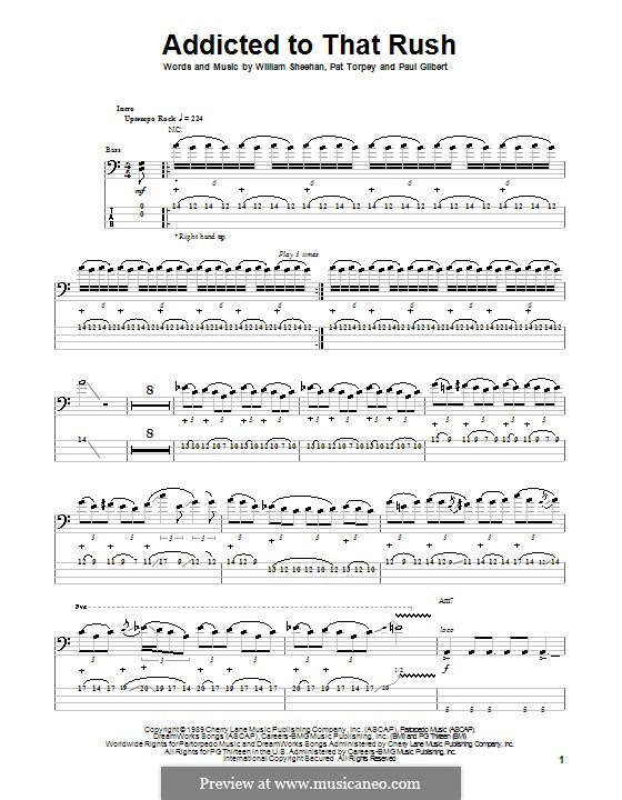 Addicted To That Rush (Mr. Big): For bass guitar with tab by Pat Torpey, Paul Gilbert, William Sheehan
