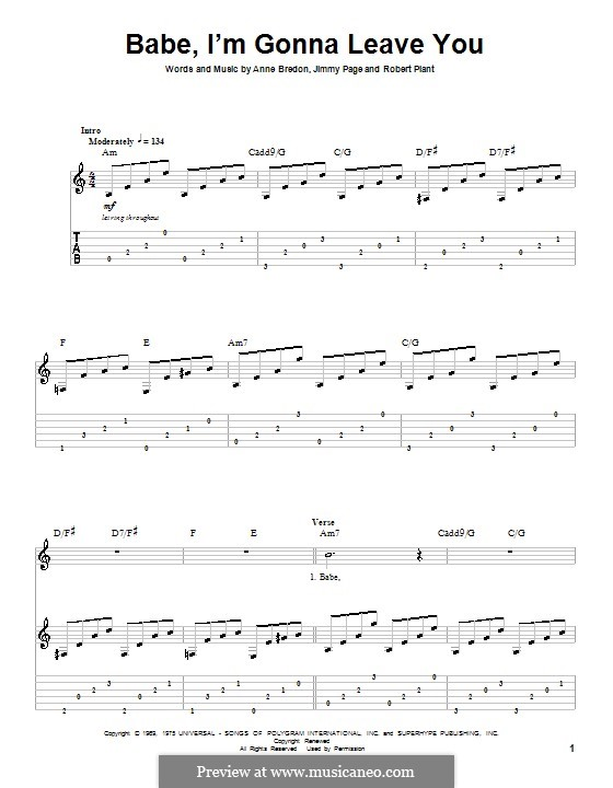 Babe, I'm Gonna Leave You (Led Zeppelin): For guitar by Anne Bredon, Jimmy Page, Robert Plant