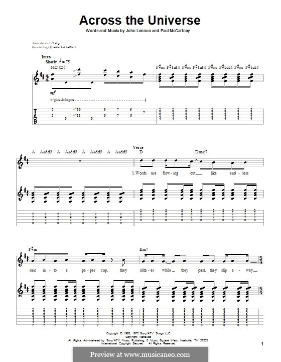 Across the Universe (The Beatles): For guitar with tabulature by John Lennon, Paul McCartney