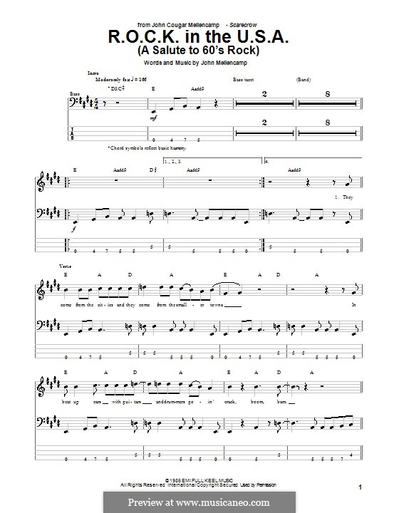 R.O.C.K. in the U.S.A. (A Salute to 60's Rock): For bass guitar with tab by John Mellencamp