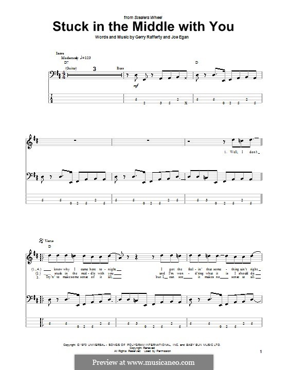 Stuck in the Middle with You (Stealers Wheel): For bass guitar with tab by Gerry Rafferty, Joe Egan