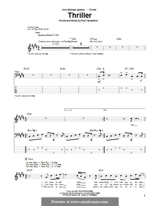 Thriller Michael Jackson By R Temperton Sheet Music On Musicaneo