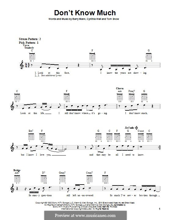 Don't Know Much (Aaron Neville & Linda Ronstadt): For guitar (with strumming patterns) by Barry Mann, Tom Snow