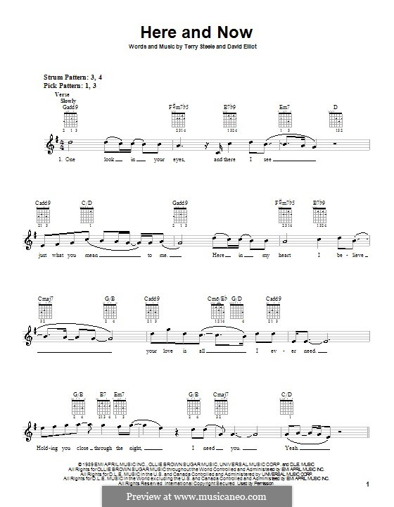 Here and Now (Luther Vandross): For guitar (with strumming patterns) by David Elliot, Terry Steele