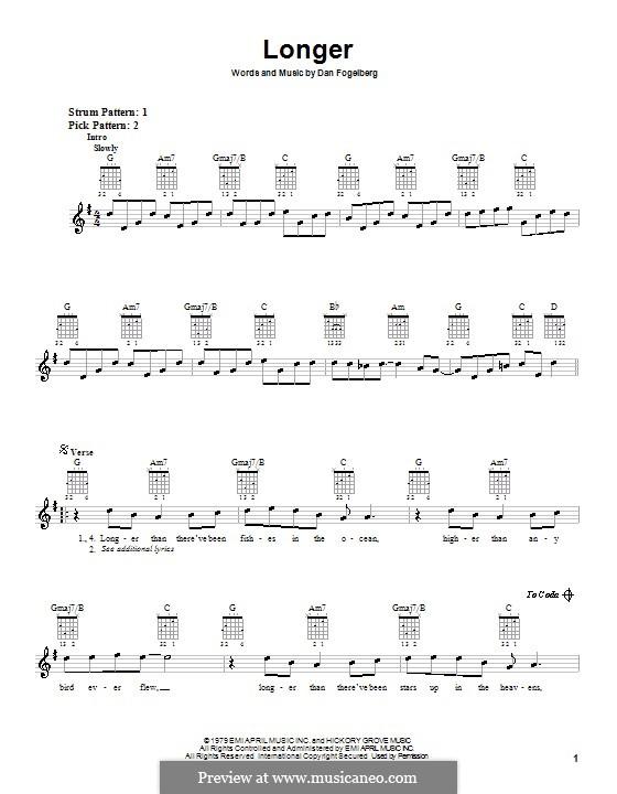 Longer: For guitar (with strumming patterns) by Dan Fogelberg