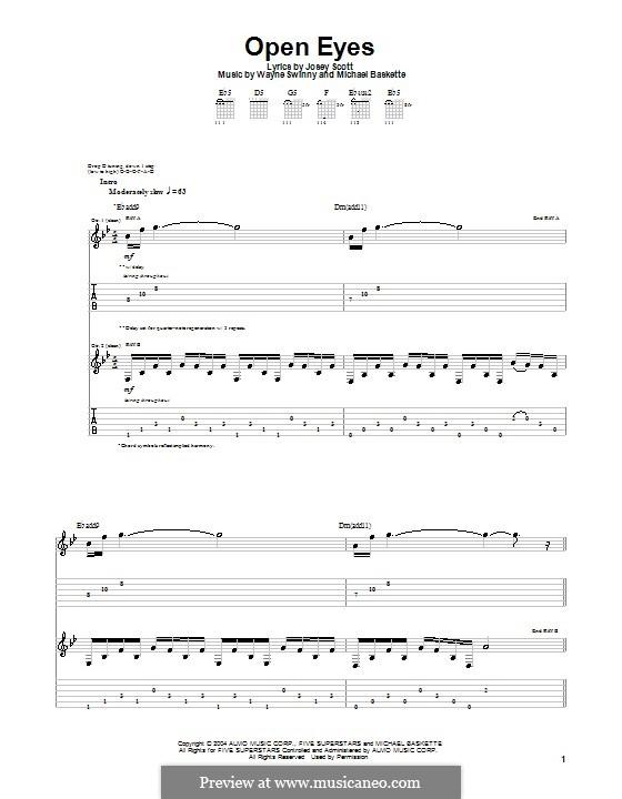 Open Eyes (Saliva): For guitar with tab by Josey Scott, Michael Baskette, Wayne Swinny