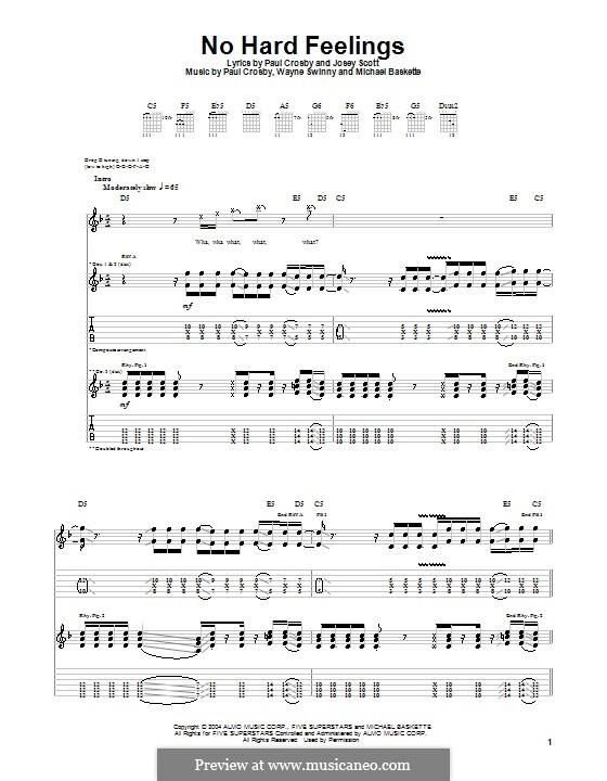 No Hard Feelings (Saliva): For guitar with tab by Josey Scott, Michael Baskette, Paul Crosby, Wayne Swinny