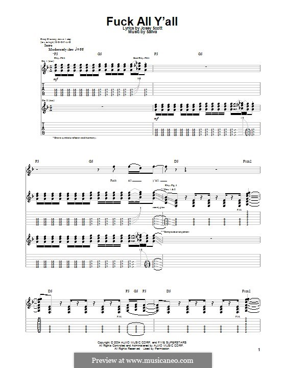 Fuck All Y'all (Saliva): For guitar with tab by Josey Scott