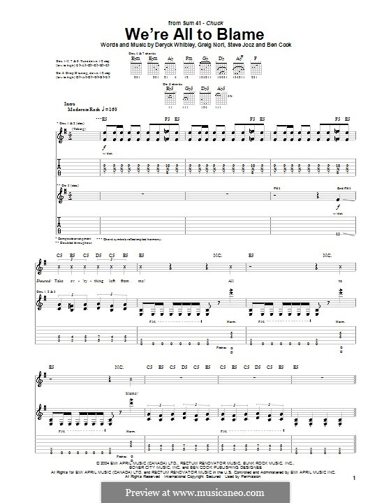 We're All to Blame (Sum 41): For guitar with tab by Ben Cook, Deryck Whibley, Greig Andrew Nori, Steve Jocz
