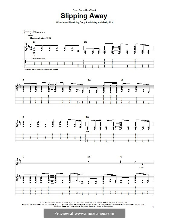 Slipping Away (Sum 41): For guitar with tab by Deryck Whibley, Greig Andrew Nori