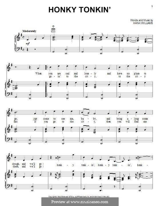 Honky Tonkin': For voice and piano (or guitar) by Hank Williams