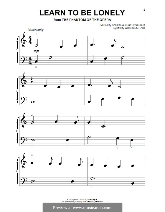 Learn to be Lonely: For piano (very easy version) by Andrew Lloyd Webber