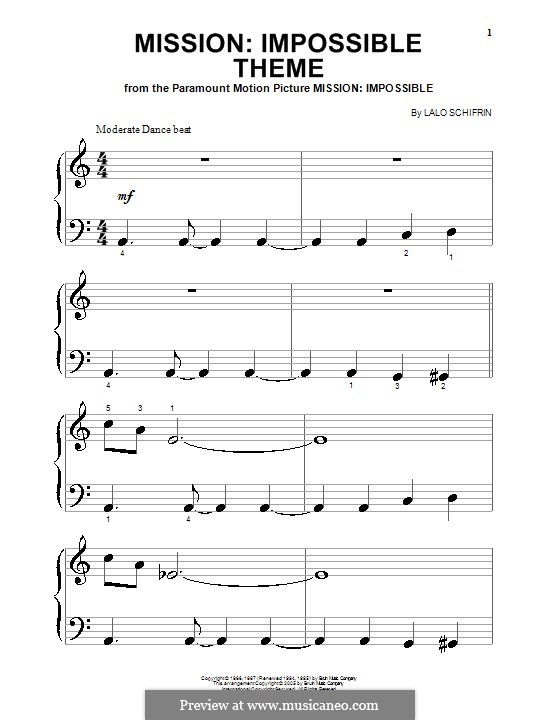 Mission: Impossible Theme: For piano (very easy version) by Lalo Schifrin