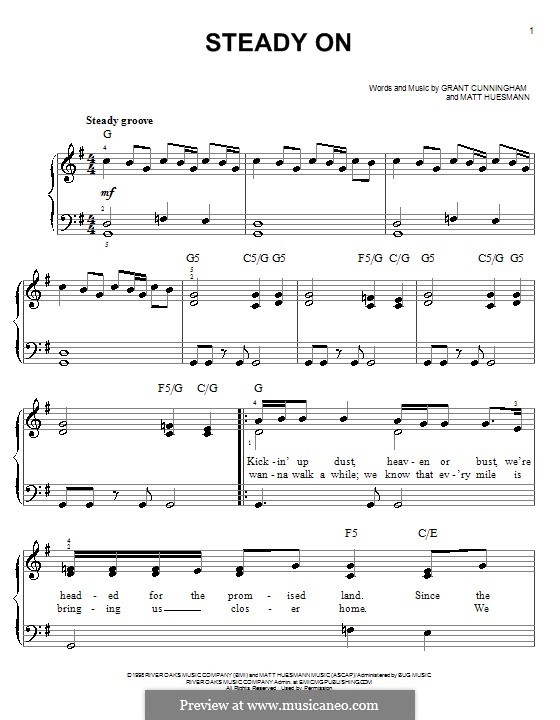 Steady on (Point of Grace): For easy piano by Grant Cunningham, Matt Huesmann