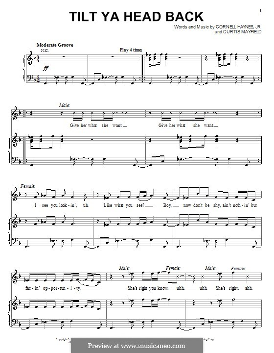 Tilt Ya Head Back (Nelly): For voice and piano (or guitar) by Cornell Haynes, Curtis Mayfield