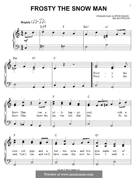 photograph about Frosty the Snowman Sheet Music Free Printable referred to as For uncomplicated piano