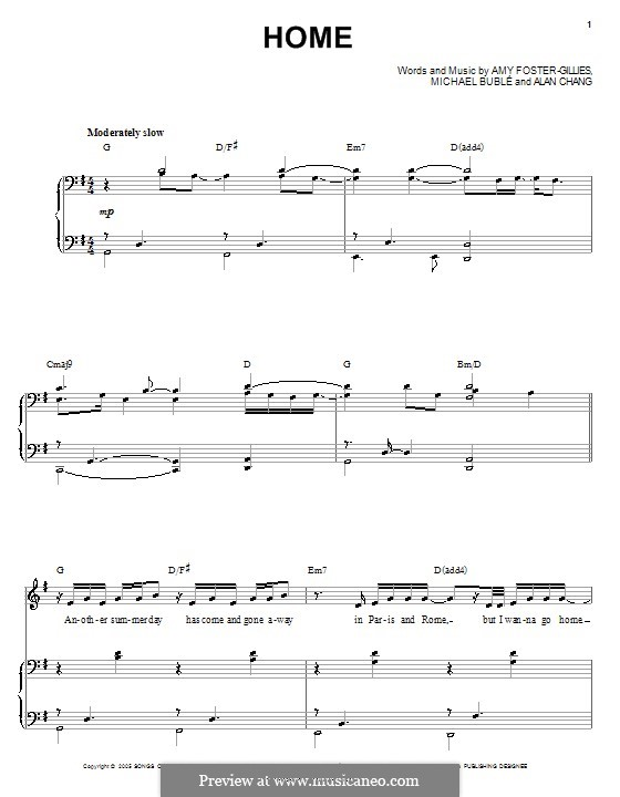 Home: For voice and piano (or guitar) by Alan Chang, Amy Foster-Gillies, Michael Bublé